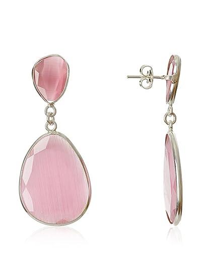 Córdoba Jewels | Pendientes en plata de Ley 925 y piedra semipreciosa. Diseño Naisha rosa de Francia: Amazon.es: Joyería