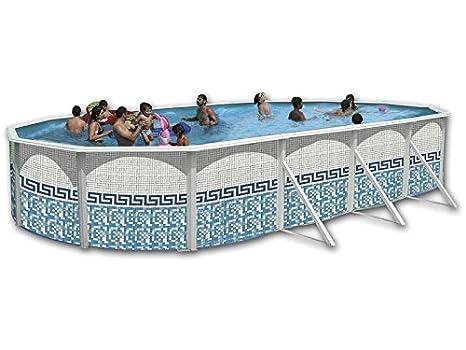 Piscina acero ovalada decoracion mosaico 6,40x 3,66x 1,20m 8154: Amazon.es: Juguetes y juegos