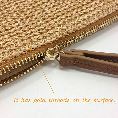 AGNETA Women's Hand Wrist Type Straw Clutch Summer Beach Sea Handbag (Brown Large) by AGNETA (Image #2)