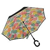 Inverted Umbrella, Alink Reverse Folding Double Layer Inside Out Outdoor Rain Away Car Umbrella - Maple Leaf