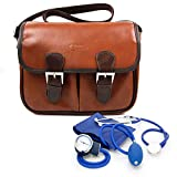 Nurse / GP / Doctor Medical Kit Bag - Brown PU Vintage Brown Leather Satchel Carry Bag for Nurse / GP / Doctor Medical Kit Bag - for Nursing / Home Visits Medical Supplies & Equipment - by DURAGADGET