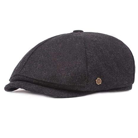 cfe5e95e8e9b3 Amazon.com  MKHDD Men Wool Beret Cap Hats Vintage Newsboy Tweed Flat Cap  Dad Warm Russia Snow Plaid Peaked Hats