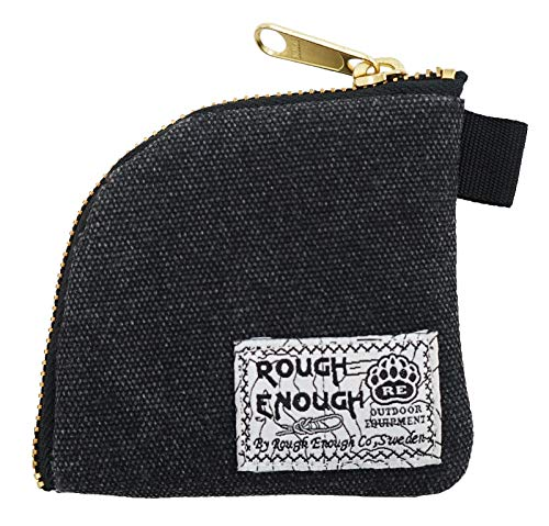 Rough Enough Classic Vintage Fancy Simple Durable Canvas Small Mini Portable Earphones Accessories Coin Pouch Holder Purse Wallet In Flat Sector Shape With Gold Zipper for Outdoor Teens Students Boys