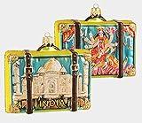 Pinnacle Peak Trading Company India Travel Suitcase Polish Glass Christmas Ornament ONE Decoration Taj Mahal