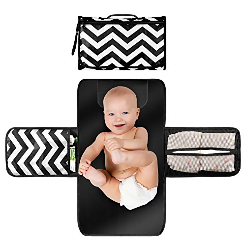 Shyme Baby Diaper Changing Pad - Portable Changing Station - Travel Gear Changing Mat Clutch Kit for Newborn Toddler Infant with Head Cushion & 3 Pockets (Black & White) (Diapering Essentials Kit)