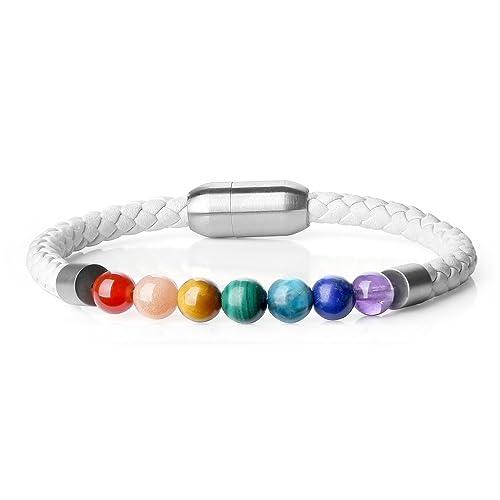 Resultado de imagen de COAI® Pulsera de Cuero Cierre Magnético con Piedra Genuina 7 Chakra Cuenta Mala para Mujer