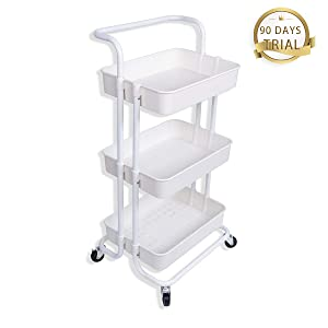 Best Buy Box 3-Tier Rolling Storage Cart,Utility Cart with Wheels,Storage Organizer Kitchen Cart with Mesh Basket and Handle,Trolley for Bathroom, Bedroom or Office,White