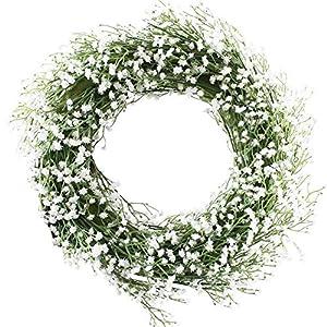 "Evoio Artificial Wreath,21"" Artificial Baby Breath Wreaths DIY Gypsophila Flowers Garland Pendant for Front Door, Wall, Home, Wedding Decoration Circular(White) 1"