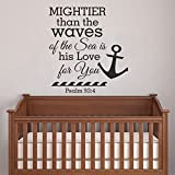 Nautical Style Psalm 93 4 - Mightier Than The Waves Of The Sea is His Love For you Scripture Kids Room Vinyl Wall Decal(Navy blue,s)