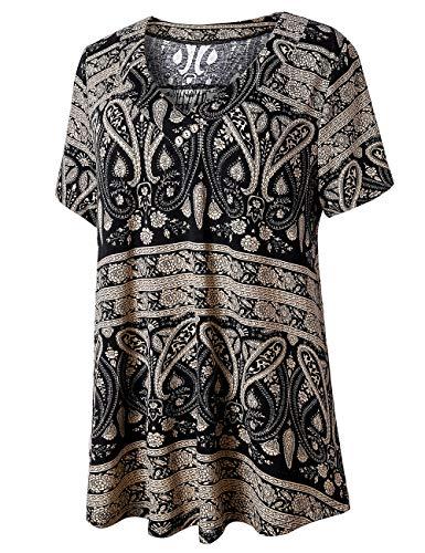 U.Vomade Women's Short Sleeve Top Plus Size Floral Tunics Casual Summer Shirts Multi Black 4X