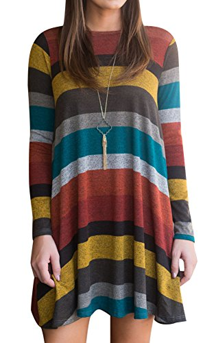 Women Loose Longsleeve Striped Knitted Tunic Dress Casual Color Blocked Cotton T Shirts Yellow XL - Knitted Tunic Dress