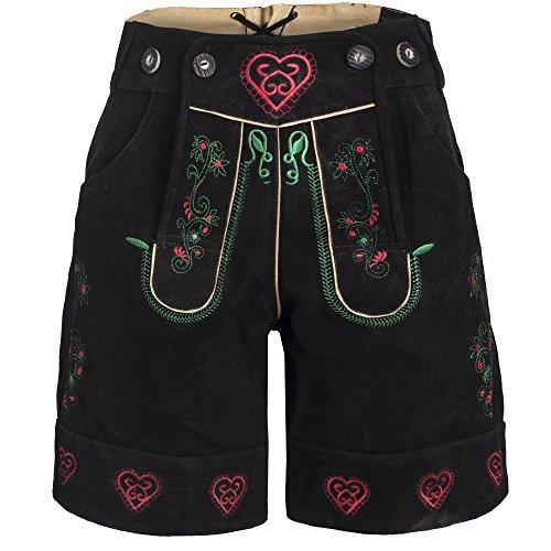 Damen Trachten Lederhose m. Trägern Schwarz Größe 40