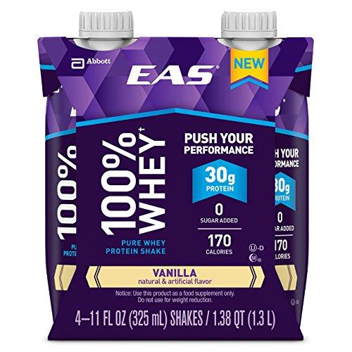 EAS 100% Whey Ready-to-Drink Protein Shake, Vanilla, 11 fl oz, 4 - Myoplex Protein Whey