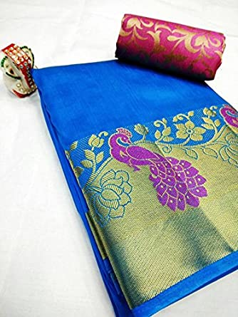 18bb421f522d90 Beautiful Blue with Pink Contrast Rajasthani Peacock on Plain Tussar Silk  Saree With Double Blouse  Amazon.in  Clothing   Accessories