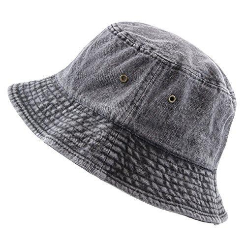 (THE HAT DEPOT Washed Cotton Denim Bucket Hat (L/XL, Black))