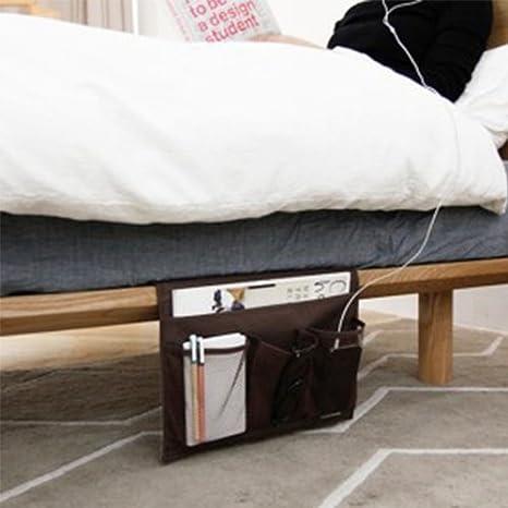 Carrito de la cama Caddy Storage Organizer Hanging Bag bolsillo debajo de la mesa del sof/á Colch/ón libro Remote Glasses Caddy dentro de la alcanc/ía de los brazos EU-SPH-055-BN