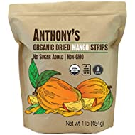 Anthony's Organic Dried Mango Strips, 1 lb, Raw, Gluten Free, Non GMO