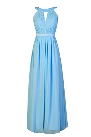 Dressever Long Chiffon Bridesmaid Evening Dresses For Women Formal Blue US2