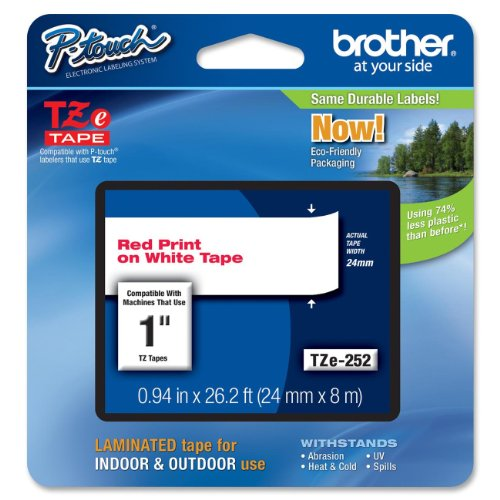 Brother Tape, Laminated Red on White, 24mm (Tze252) - Retail Packaging