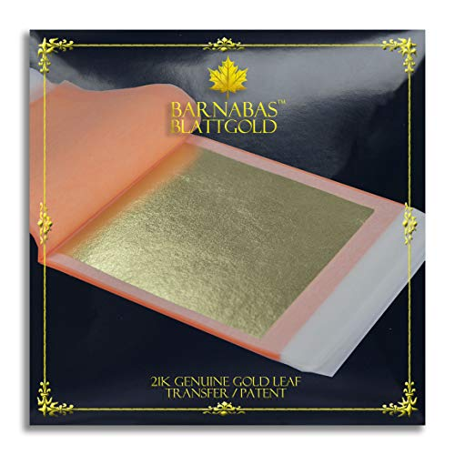 Genuine Gold Leaf Sheets 21k - by Barnabas Blattgold - 3.4 inches - 25 Sheets Booklet - Transfer Patent Leaf ()