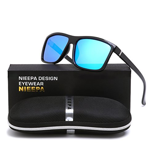 NIEEPA Men's Driving Sports Polarized Sunglasses Square Wayfarer Plastic Frame Glasses (Blue Silver Lens/Bright Black Frame)