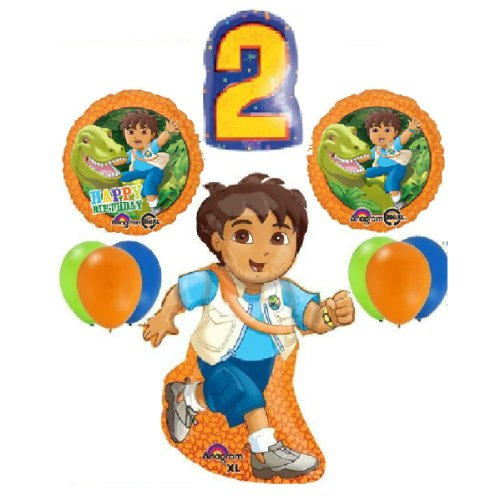 10 BALLOONS GO DIEGO 2ND SECOND birthday party supplies dora the explorer favors - Go Diego Go Birthday Party