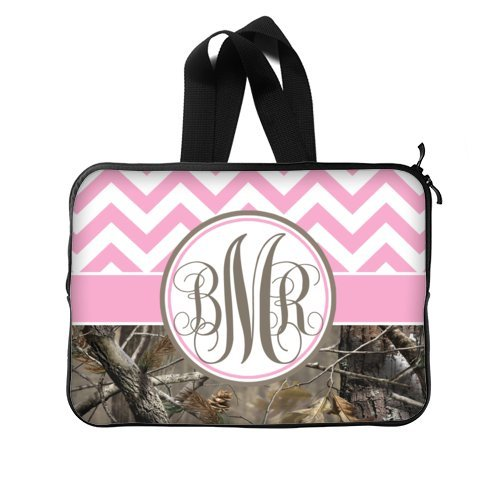 Pink and White Chevron and Camo Monogrammed Initials for Laptop / Notebook Computer / Macbook Pro Sleeve Case Bag Cover