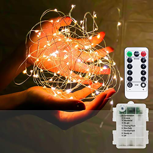 Otbar Led String Lights,33 FT 100LED Fairy Starry String Lights, Fairy Lights String Lights with Remote Control IP65 Waterproof Decoration Lights for Festival,Christmas, Party, Wedding, Warm White