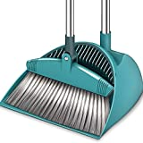 SUPERJARE Broom and Dustpan Set, Lengthened Upright Grips Sweep Combo, 180° Rotation Broom for Home & Office - Green