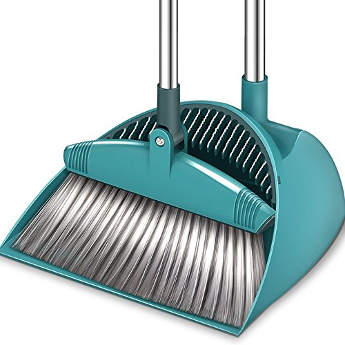 SUPERJARE Broom and Dustpan Set, Lengthened Upright Grips Sweep Combo, 180° Rotation Broom for Home & Office - Green by SUPERJARE (Image #7)