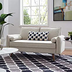 Living Room Modway Revive Contemporary Modern Fabric Upholstered Loveseat In Beige modern sofas and couches