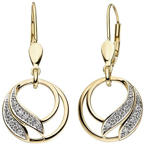 Boucles d'oreilles avec brillants 22diamants en or jaune 585bicolore femme