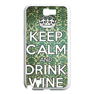 DDOUGS Keep Calm and Drink Wine New Fashion Cell Phone Case for Samsung Galaxy Note 2 N7100, Customized Keep Calm and Drink Wine Case