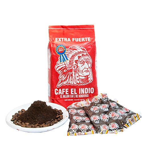 Cafe Molido:Coffee El Indio Extra Fuerte | Ground Strong Coffee From Honduras | 16 individual bags total of 1 ounce each | Guaranteed Best Coffee 100% Customer Satisfaction