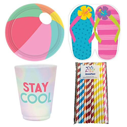 Summer Fun Chillin At The Beach Party Supplies Pack for 16 Guests: Includes Beach Ball Plates, Flip Flop Napkins, Stay Cool Tumblers and ElevenPlus2 Straws ()