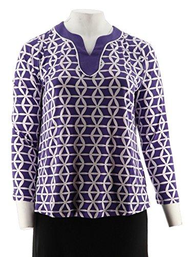 Susan Graver Printed Liquid Knit Split Neck Top A276424, Purple, XL