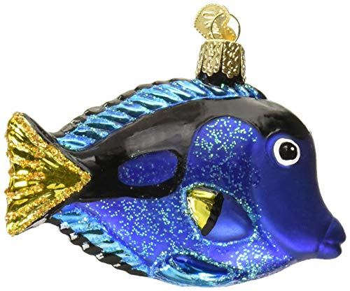 Old World Christmas Fish Collection Glass Blown Ornaments for Christmas Tree Pacific Blue Tang (Ornaments Fish Tropical Christmas)
