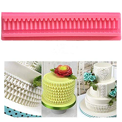 Pleats Border Silicone Fondant Mold Pleated lace Waves Mold for Cake Decoration Cupcake Decorate Polymer Clay Soap Wax Making Crafting Projects