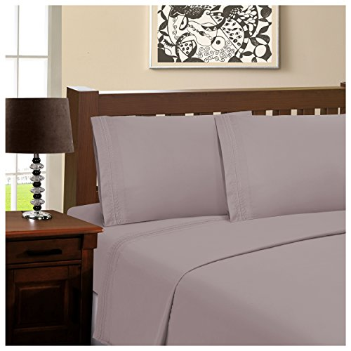 """Luxor Treasures Superior Infinity Embroidered Luxury Soft, Cooling 100% Brushed Microfiber Pillowcase Set of 2, Light Weight and Wrinkle Resistant - 20"""" x 30"""" Standard Pillowcase, Grey from Luxor Treasures"""