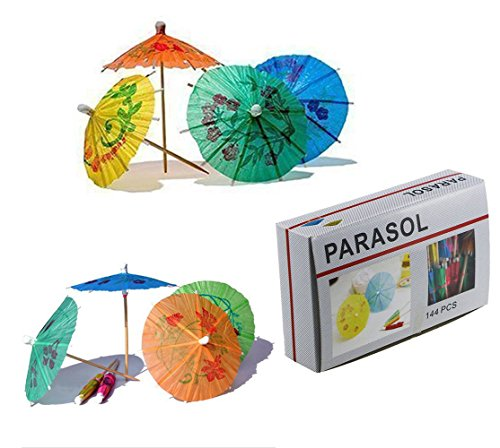 ISusser 144pcs 4 Inch Multicolor Paper Cocktail Drink Umbrellas, Hawaiian Tropical Cocktail Parasols