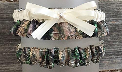 SEXY Camouflage & Ivory Satin Bling Bridal Wedding Garter Set Rhinestone -