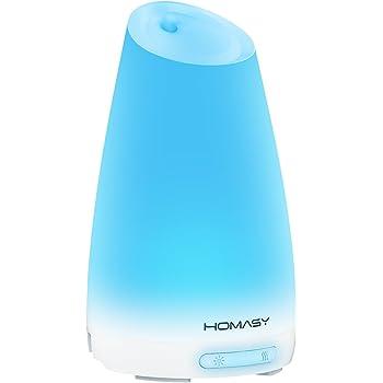 Homasy 100 ML Aromaterapia Aceite Esencial Difusor/Humidificador Ultrasónico de Vapor Frío con el Color del LED Cambio de Luces Automático y Función de Shut-Off