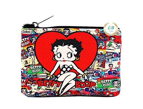 Betty Boop Red Heart Collection, Cartoon Collage Coin Purse