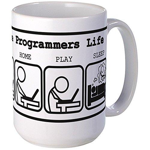 CafePress Unique The Programmers Life Mug Coffee Mug, Large 15 oz. White Coffee Cup
