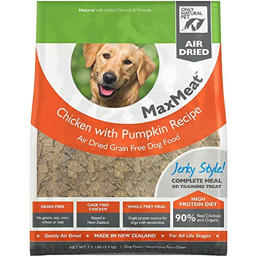 - Only Natural Pet MaxMeat Holistic Grain-Free Air Dried Dry Dog Food - Made with Real Meat - Chicken with Pumpkin & Parsley 7.5 lb
