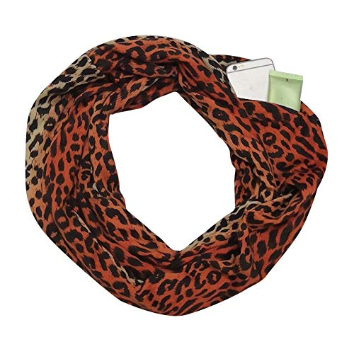 Price comparison product image Women Winter Leopard Print Warm Scarf, Infinity Neck Warmer Wrap Scarf With Hidden Zipper, Secret Pocket For Casual, Travel, Ladies, Girls (B)