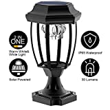 Solar Post Lights Outdoor, Waterproof LED Post Cap Lights for 4x4 Wooden Posts, Square Black Landscape Post Lamp for Deck, Patio, Fence (White Light 6000K) - 6 Pack