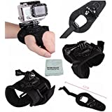 Tomcrazy 360 Degree Rotation Adjustable Glove Style Swivel Wrist Strap Armband Mount with Lock for Gopro Hero6 Black Hero5 Hero 4 GoPro Hero 5 4 3 3+ 2 Xiao Mi Yi 1/4 thread action camera