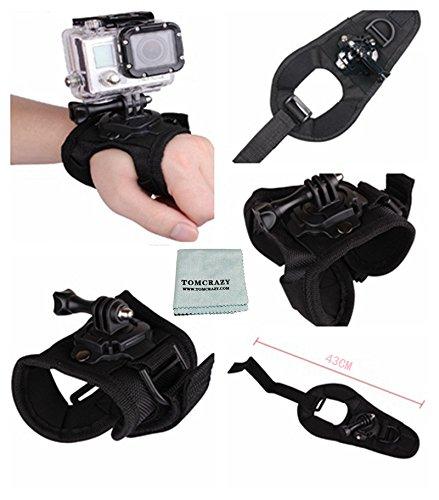 Tomcrazy 360 Degree Rotation Adjustable Glove Style Swivel Wrist Strap Armband Mount with Lock for Gopro Hero7 Black GoPro Hero 7 6 5 4 3 3+ 2 Xiao Mi Yi 1/4'' thread action camera