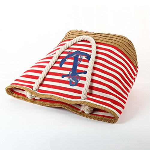 Zipper Stripe Canvas Beach Large Fieans Travel Blue Straw Navy Shopping Tote Bag Shoulder Casual Women 7qYvq